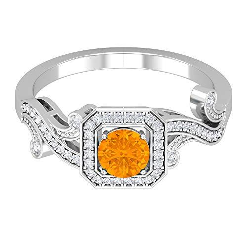 Anillo de zafiro naranja de 5 mm creado en laboratorio, anillo de diamante HI-SI, anillo art decó de oro (calidad AAA), 14K Oro blanco, Laboratorio de Zafiro Orange Creado, Size:EU 54