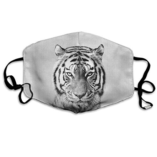 Decorative Cover Adjustable Fashion Masks, Tiger Black & White Anti Dust Comfort Polyester Breathable Warm Windproof