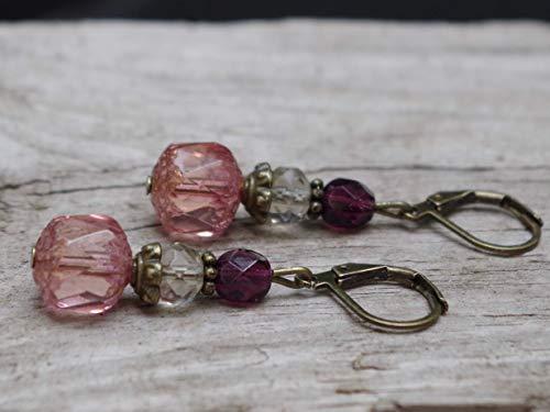 WIEDER DA!!!! Vintage Ohrringe mit böhmischen Glasperlen - rosa, peach, grau, lila, aubergine & bronze