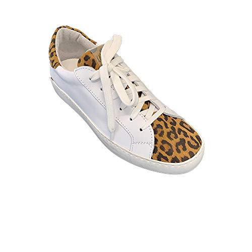 sneakers donna ovye Ovyè By Cristina Lucchi AM 1680 Sneakers in Pelle Bianche e Leopardate Made in Itlay (40)