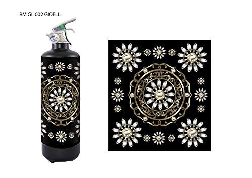 Estintore design regalo per casa nuova camper o per inaugurazione negozio linea Gioielli, Manghisi, colore nero con estinguente a polvere da kg 1 con classe di fuoco abc