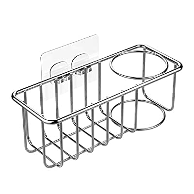 KESOL Adhesive Sponge Holder + Brush Holder, 2-in-1 Sink Caddy, SUS304 Stainless Steel Rust Proof Water Proof, No Drilling