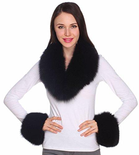 Ferand – set met afneembare sjaal en 2 manchetten van echt bont, voor dames