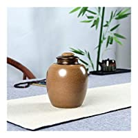 NMSB 葬儀灰ジャー壺のために人間の火葬ペット灰ホルダーセラミック記念品パル灰骨壷棺のために骨壺シール収納缶 (Color : Brown)