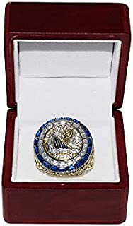 GOLDEN STATE WARRIORS (Steph Curry) 2017 NBA FINALS WORLD CHAMPIONS Rare Collectible High-Quality Replica NBA Basketball Gold Championship Ring with Cherrywood Display Box