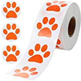 Paw Print Stickers, Roll of 600 Pieces Orange Dog Puppy Paw Stickers, Self-Adhesive Labels Bear Paw Wall Decal, Paw Stickers Roll for Kids, Parties, Vets, Kennels and Mailing, 1.5 Inch