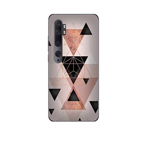 Funda Mi Note 10 Carcasa Compatible con Xiaomi Mi Note 10 Fondos Elegantes Triángulo Rosa Dorado Negro/Imprimir también en los Lados. / Teléfono Hard Snap en Antideslizante Antideslizante Anti-ra
