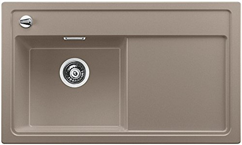 Weiß ZENAR 45 S, Küchenspüle, Granitspüle aus Silgranit PuraDur inklusiv Holzschneidbrett, Spülbecken links, 1 Stück, tartufo, 519228