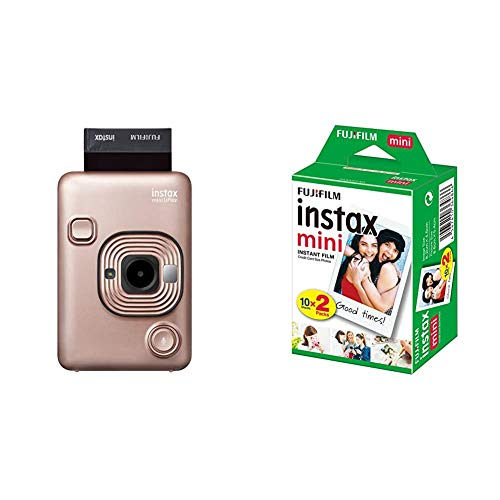 Fujifilm Instax Mini LiPlay Blush Gold & Mini Instant Film, 2X 10 Blatt (20 Blatt), Weiß