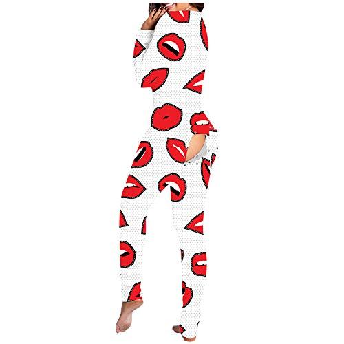 N /C Mono casual de manga larga para mujer, diseño estampado de labios