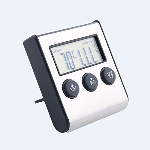 Grillthermometer, BBQ Ofenthermometer Digital mit Faltbare Sonde, Fleischthermomete, Timer-Alarm, LCD Display, für Küche, Grill, BBQ, Steak, Türkei, Süßigkeiten, Milch
