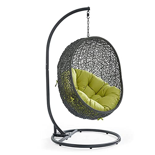 Modway Hide Wicker Rattan Outdoor Patio Porch Lounge Egg Swing Chair Set with Stand in Gray Peridot