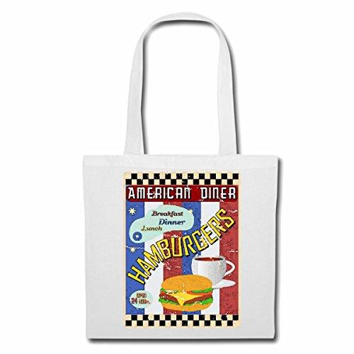Tasche Umhängetasche American Diner Hamburger Cheeseburger Kaffee Salat FRÜHSTÜCK Mittagessen DIÄT ABNEHMEN Kalorien Figur Fitness BMI FETTGEWEBE DICK DÜNN Figur BETONT Bauchumfang Einkaufstasche S