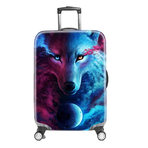 Suitcase Cover 3D Starry Sky Wolf Dream Catcher Owl Football Design Pink Blue Black Purple Travel Luggage Protector Dust Cover (Without Suitcase) (Wolf, XL(Fits to 29'-32' Trolley Case))