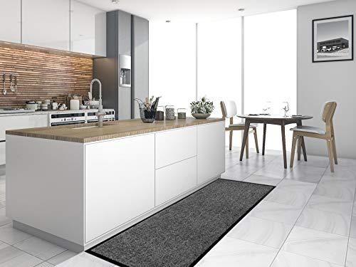 Primaflor - Ideen in Textil Küchenläufer Küchenvorleger Schmutzfangmatte CLEAN - Anthrazit, 60x180 cm, Küchenteppich Schmutzfangläufer