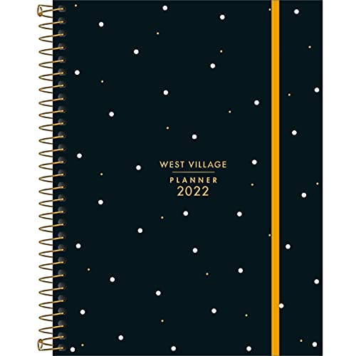 Planner Espiral 17,7 x 24 cm West Village 2022 - Estampa Fundo preto com poá - Tilibra
