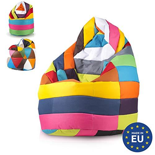 Ecopuf Sitzsack XL Mix für drinnen und draußen gepolstert mit Patchwork-Design 85 x 135 cm