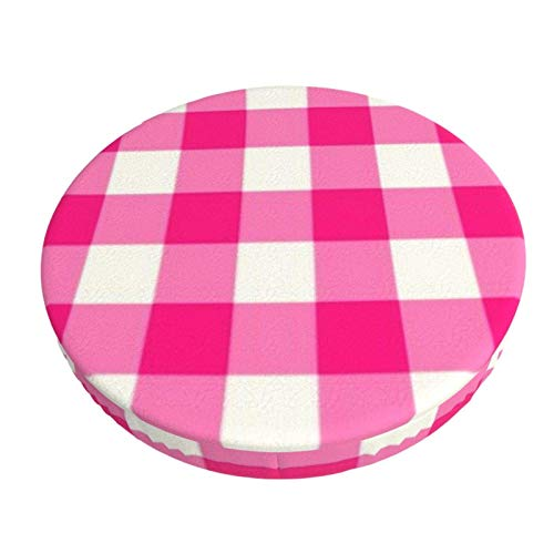 Anti-Slip Round Chairs Cover Stool Covers,Hot Pink Outdoor Gingham Pattern,Stretch Chair Seat Bar Stool Cover Seat Cushion Slipcovers Chair Cushion Cover Round Lift Chair Stool