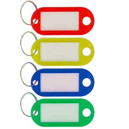 Llavero con anillo, se puede escribir, 4 unidades, varios colores
