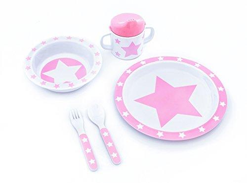 pimpalou 0179960 Melamin Kinder-Geschirr Set Sterne rosa 5-teilig