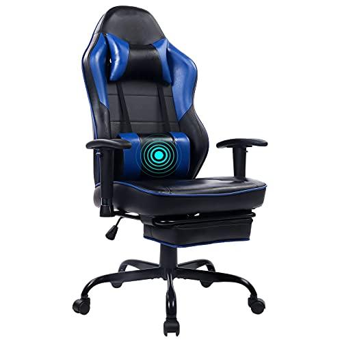 Wolmics Massage Gaming Stuhl Hohe Rückenlehne Racing PC Computer Bürostuhl Drehbarer Ergonomischer Executive Leder Schreibtischstuhl mit Fußstütze und verstellbaren Armlehnen