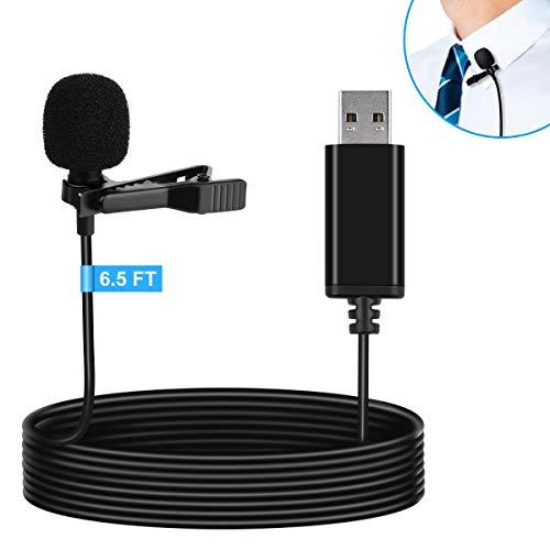 LamrTek USB-Lavalier-Mikrofon,Reversmikrofon,kompatibel mit Laptop,Desktop,PC und Mac,omnidirektionales Mikrofon,für Videoaufnahmen,Skype,Kameras