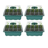 4pcs Semillas Semillas Bandejas Bandejas Propagador Cultivo de bandejas con párpados 12 Agujeros Plántulas Bandejas Cultivo Planta Jardín Nursery Bandeja de Germinación para Greenhouse Semilla comenza