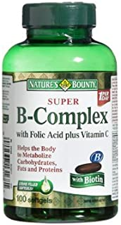 Nature's Bounty Super B-Complex with Folic Acid Plus Vitamin C with Biotin 100 Softgels (Packaging May Very)