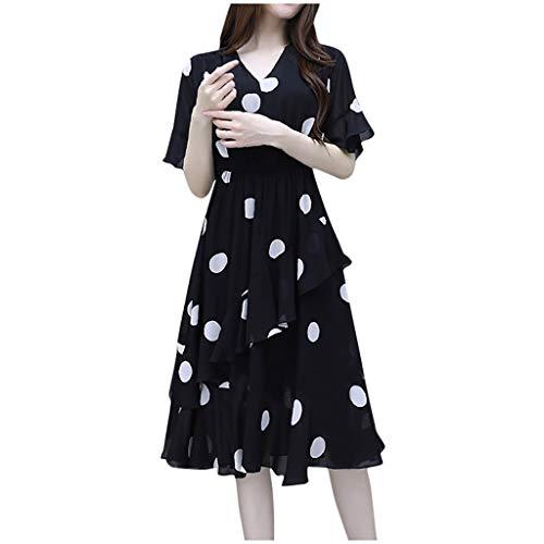 Ladies Dress,Meet&sunshine Women Fashion Summer V-Neck Knee Length Short Sleeve Wave Point Dress (Black, XXXL)