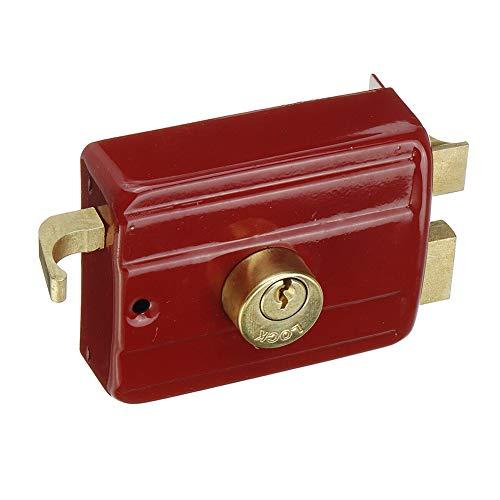 Cerradura de bloqueo nocturno deadlock, cerradura de bloqueo tradicional exterior con cerradura estándar de seguridad y cierre nocturno con acabado cromado y llaves para la casa