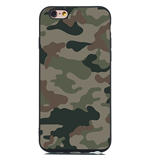 Everainy Kompatibel für iPhone 6 Plus/iPhone 6S Plus Hülle Silikon Bumper Gummi Neu Cover Hüllen für iPhone 6 Plus Handyhülle Stoßfest TPU Stoßstange Schwarz Schutzhülle (Camouflage)