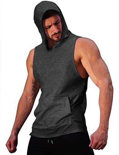 COOFANDY Herren Tank Top Sport Ärmellos Muscleshirt Workout Fitness Training Bodybuilding Hoodie mit Taschen,Dunkelgrau,S