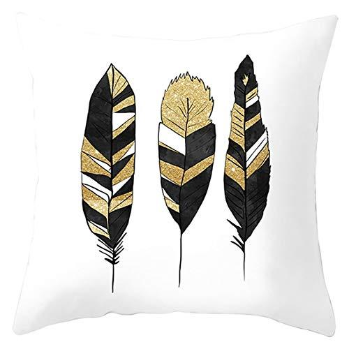 KnBoB Funda Cojin Blanco Negro Amarillo 45 x 45 cm Poliéster Patrón de Plumas Estilo 10