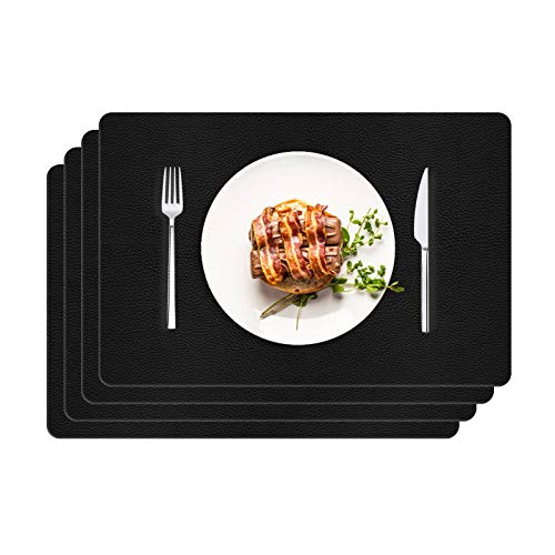 onehous Placemats Faux Leather, Set of 4 Waterproof Large Place Mats Recycled Non-Slip Table Mats Heat Insulation Rectangular Dining Mats for Kitchen Table Restaurant Home Decoration (30x45cm, Black)