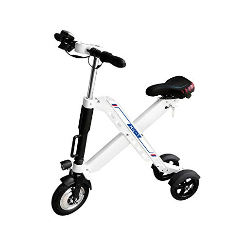 Zidao Tricycle Pliant E-Vélo, Mini Petit Vélo Électrique pour Les Hommes des Femmes Adultes Citypendeln Ultralight Vitesse Maximale De 25 Km par Heure,Blanc