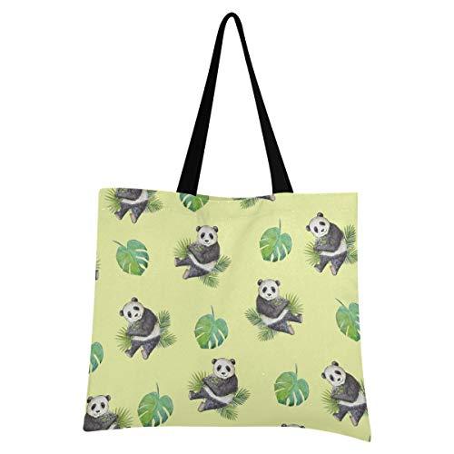 XIXIXIKO - Bolsa de lona ligera con diseño de panda de palma, bolsa de playa, bolsa de hombro, resistente para mujeres, niñas, compras, gimnasio, playa, viajes, diarios