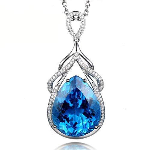 Olaffi 925 sterling silver Mermaid Tears Necklace Micro-inlaid Zircon Blue Topaz Drop Shape Pendant Female