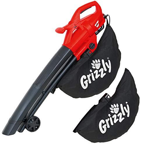 Grizzly Tools Elektro 3in1 Laubsauger Laubbläser Häcksler EL 2800 Blasgeschwindigkeit 270 km/h 2800 Watt große Räder mit Tragegurt und 2 Fangsäcke