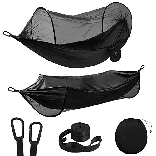 Double Camping Hammock with Mosquito/Bug Net Portable Parachute Nylon 2 in 1 Pop Up Hammock with 10ft Hammock Tree Straps and Easy Assembly Carabiners for Camping Backpacking Travel Hiking