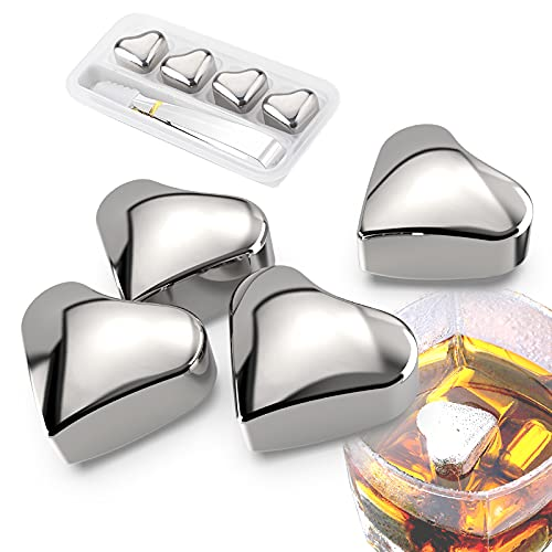 4 Pieces Heart-shaped Stainless Steel Reusable Ice Cube Trays, Whiskey Stones Gift Set For Men And Women, Perfect Beverage Chilling Stones for Drinks Unique, Fake Ice Cubes Gift for Alcohol Lovers