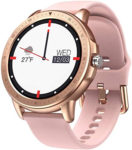 SANAG Smartwatch Frauen, Smartwatch Wasserdicht IP67, HD-Touchscreen, Sportaktivitäts-Tracker mit Herzfrequenzmesser, Kalorienzähler, Wettervorhersage für iPhone und Android, Pink…