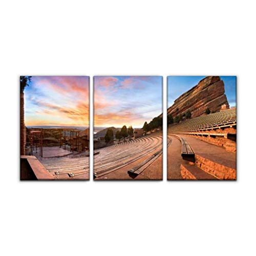 """Gracelapin Modern Canvas Painting red Rocks at Sunrise Denver Stock Pictures, Royalty Free Photos Wall Art Artwork Decor Printed Oil Painting Landscape Home Office Bedroom Framed Decor (16""""x24""""x3pcs)"""