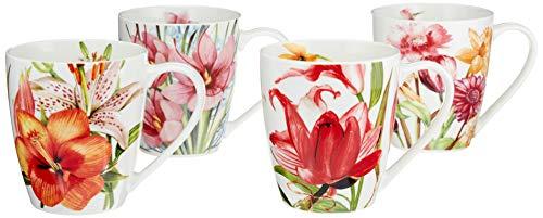 Coffee Mug, Tea Mugs Set, Fine Porcelain Floral Design, Set of 4