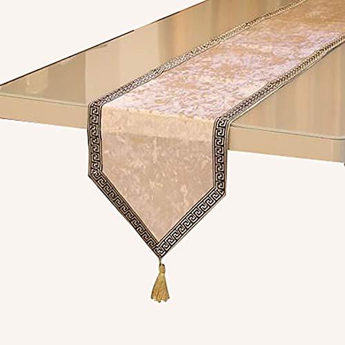 Chemin De Table en Dentelle avec Pompons, Table à Manger Comptoir De Bar, Meuble TV, Armoire De Véranda,(Color:E,Size:32×180cm)