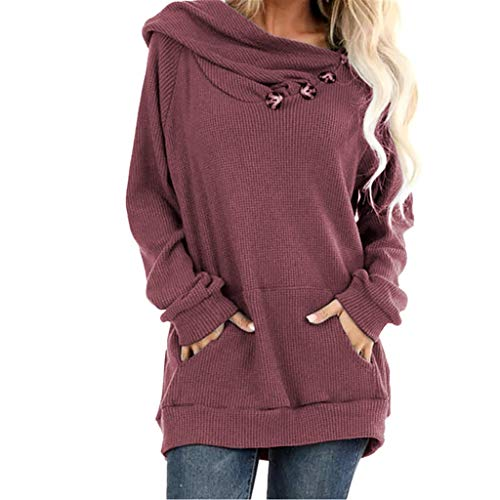 Meikosks Womens Large Pocket Hooded Top Long Sleeve Sweatshirts Pleated Knit Pullover Solid Hoodies Wine