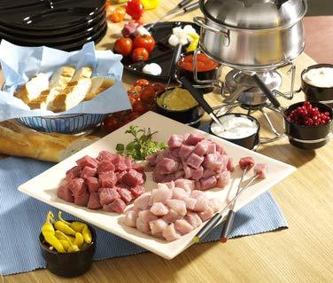 3 kg Fleisch Fondue geschnitten - für 10 Personen - Gemisch: Rind/Schwein/Pute - gut zum...
