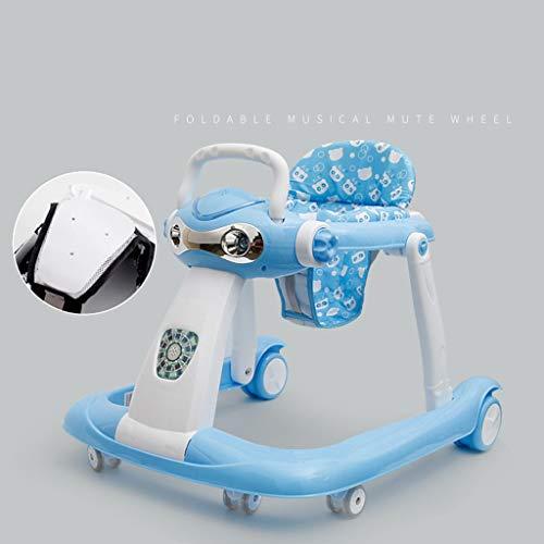 Trotteur bébé, 6-18 Mois Anti-Renversement Pliable de bébé Peut s'asseoir Ahd Push Walker Deux Modes d'enfant en Bas âge (Couleur : Bleu)