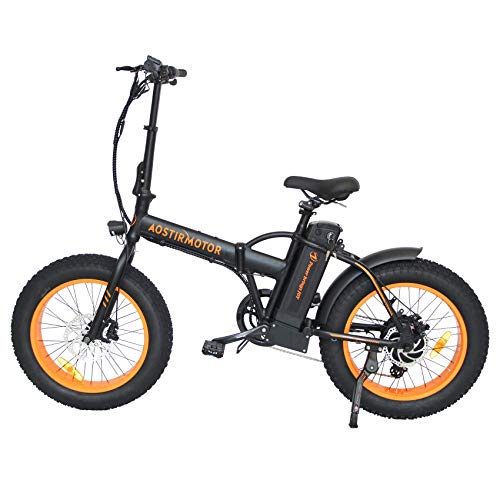 CZFJ Folding Mountain Ebike,500W Motor Electric Bicycle with 36V13AH Removable Lithium Battery and Shimano Outer 7 Speed,Aostirmotor Folding Electric Bicycle for Adults(Orange)