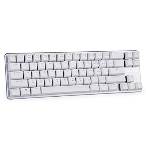 Qisan Tastatur Mechanische Wired Keyboard OUTEMU Blue Switch 68-Tasten Mini-Design (60%) Gaming-Tastatur Weiß Silber Magicforce