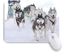 Mabby マウスマット ゲーミング オフィス マウス パッド,musher hiding behind sleigh at sled dog race on snow in winter,Non-Slip Rubber Base Mousepad for Laptop Computer PC Office,Cute Design Desk Accessories